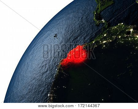 Ecuador In Red On Earth At Night