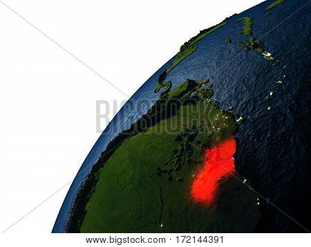 Guyana In Red On Earth At Night