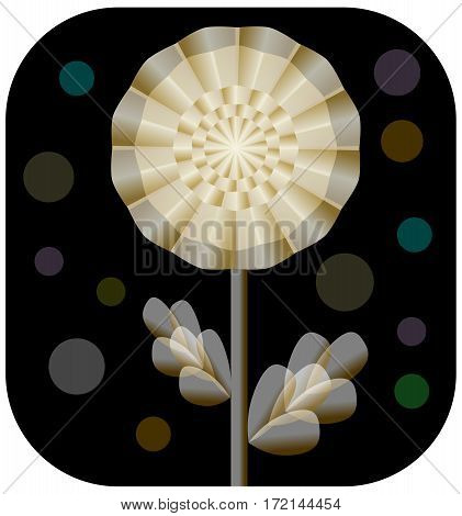 Fantasy golden flower from transparent stuff on black background with transparency circle shapes vector eps10