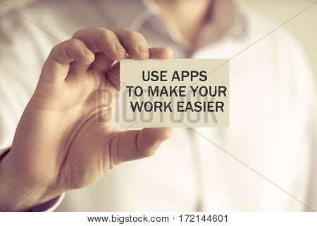 Businessman Holding Use Apps To Make Your Work Easier Message Card