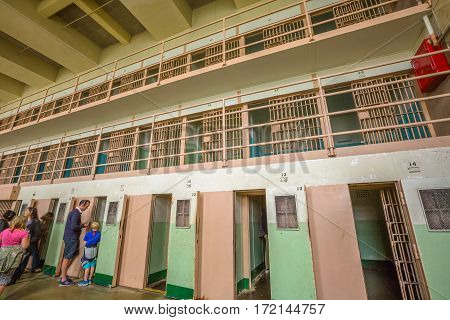 San Francisco, California, United States - August 14, 2016: Alcatraz special cells for solitary confinement, The Hole , punishment for inmates serving a prison sentence. D-Block with isolation cells.