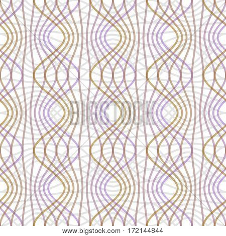Purple and yellow waves on white background. Seamless vector strip patterns in pastel colors regular geometric ornament in classic style vector EPS10