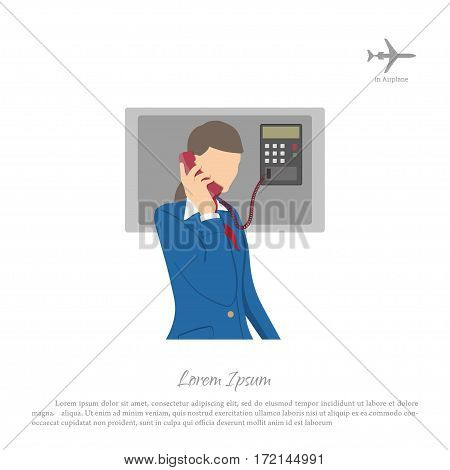 Stewardess speaking on the phone of the aircraft. Flight attendant on a white background. Vector illustration