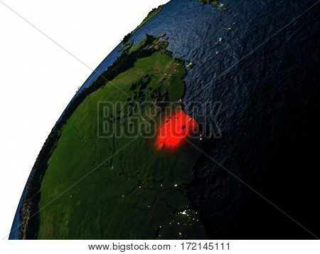 Suriname In Red On Earth At Night
