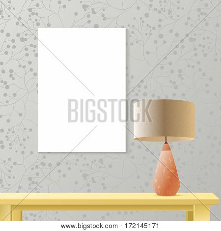 Interior room realistic mockup with vertical poster paper on patterned wall, wooden table, lamp. Layered and editable, fashion trendy warm colors. Vector mockup for business or artwork presentation