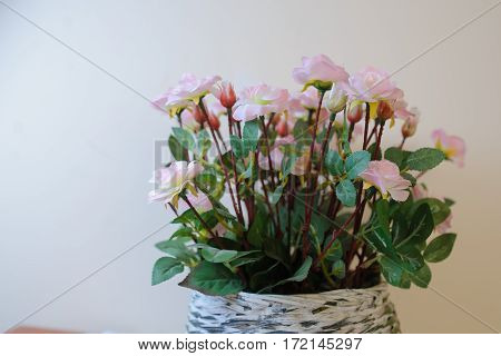 Artificial Flowers Of Pink Roses For Decoration