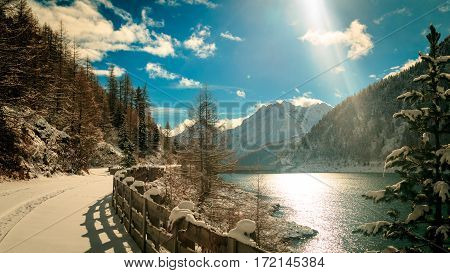 The Neves Lake In The Italian Alps