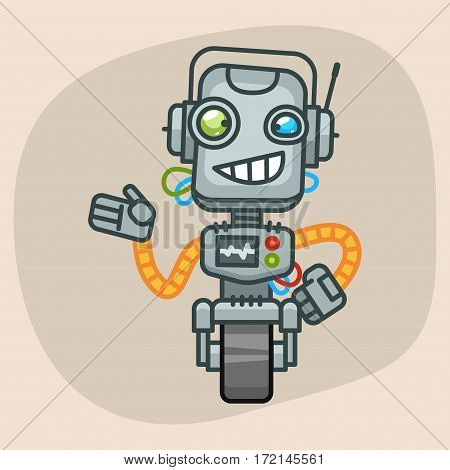 Vector Illustration, Robot Smiles and Shows, Format EPS 10