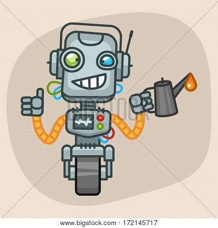 Vector Illustration, Robot Keeps Engine Oil, Format EPS 10