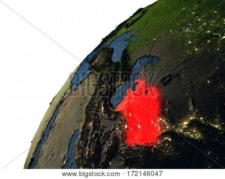 Turkmenistan In Red On Earth At Night