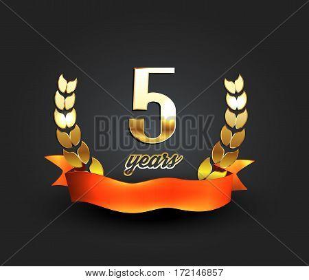 Five years anniversary banner. 5th anniversary logo. Vector illustration.