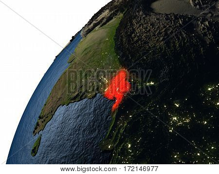 Bangladesh In Red On Earth At Night