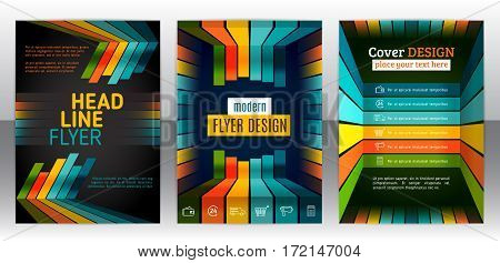 Abstract stripes vector brochure template. Flyer with lines stripes motion and dynamics. Cover layout with flat style. Infographic elements and icons. Modern design for posters and banner. Vector eps