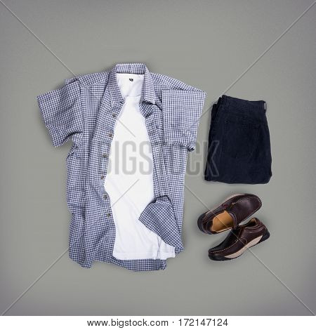 Men's fashion, casual outfits with accessories, flat lay, top view on grey background