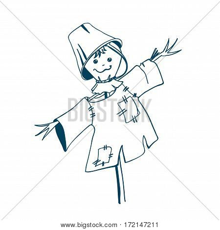 Scarecrow hand drawn in cartoon style. Vector illustration.
