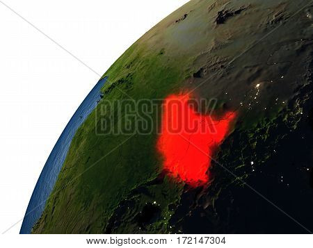 South Sudan In Red On Earth At Night