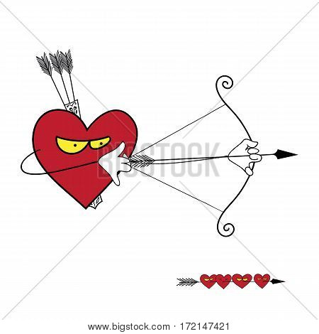 Heart of the hunter. Cute funny vector illustration. Suitable for web design and printing and as print on t-shirt