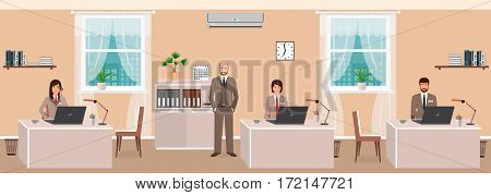 Realistic characters of business employee and boss in office room interior at workday beginning. Teamwork concept. Flat style vector illustration.