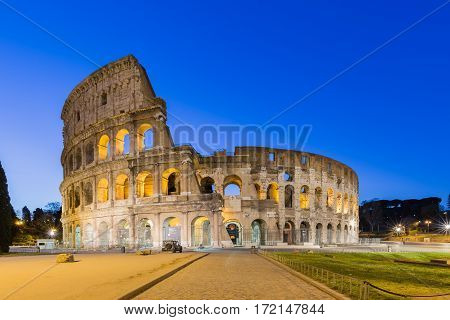 The Colosseum landmark in Rome Italy in the morning.