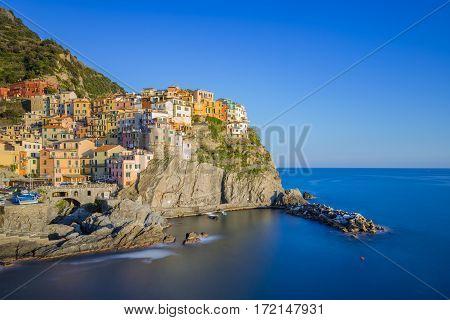Manarola One Of Five Famous Village In Cinque Terre, Italy