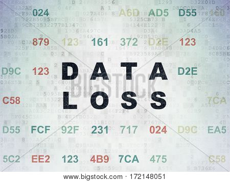Data concept: Painted black text Data Loss on Digital Data Paper background with Hexadecimal Code