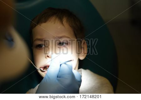 Boy has first visit to a dentist