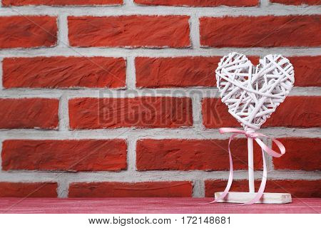 Love Heart On The Brick Wall Background