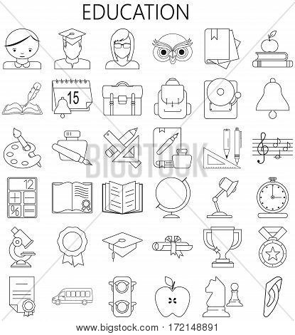 Thin line icons set. Icons for education