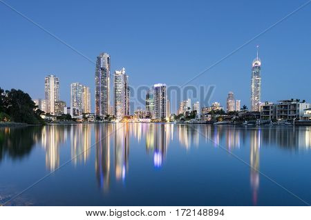 The Surfers Paradise skyline reflections on the Gold Coast, Queensland, Australia
