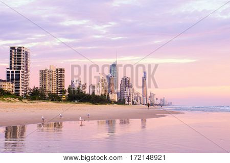 Surfers Paradise Beach at sunrise on Queensland's Gold Coast.