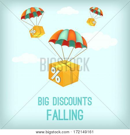 Big discount falling concept. Package flying on parachute. Air shipping. Delivery service. Carton vector illustration