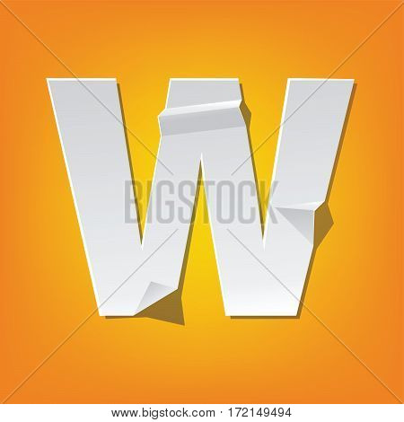 The new design of the English alphabet W capital letter was folded paper some of the letters. Adapted from the font Myriad Pro extra bold.
