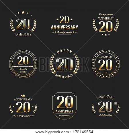 Twenty years anniversary celebration logotype. 20th anniversary logo collection.