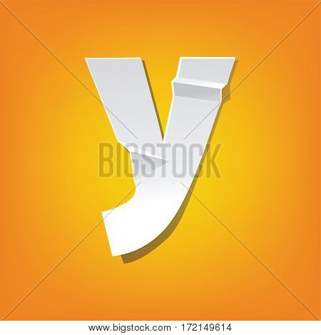 The new design of the English alphabet y Lowercase letter was folded paper some of the letters. Adapted from the font Myriad Pro extra bold.