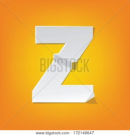 The new design of the English alphabet Z capital letter was folded paper some of the letters. Adapted from the font Myriad Pro extra bold.