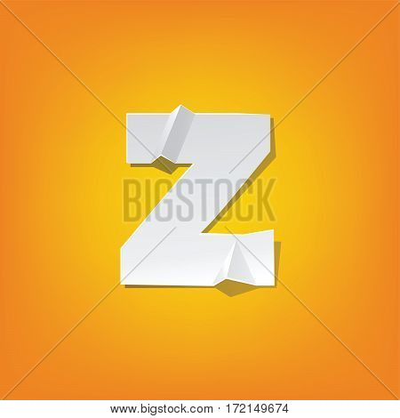 The new design of the English alphabet z Lowercase letter was folded paper some of the letters. Adapted from the font Myriad Pro extra bold.
