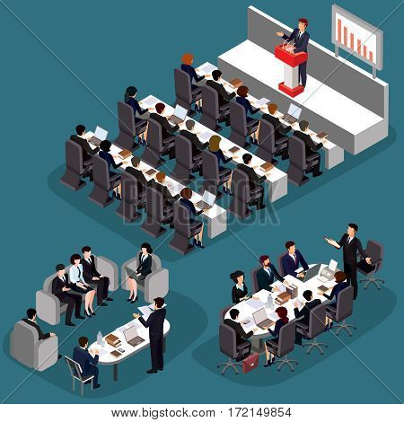Vector illustration of 3D flat isometric business people. The concept of a business leader, lead manager, CEO. Business meeting in a modern office, speaker at a business conference and presentation.