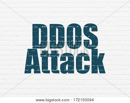 Privacy concept: Painted blue text DDOS Attack on White Brick wall background
