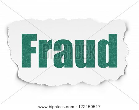 Security concept: Painted green text Fraud on Torn Paper background with Scheme Of Hexadecimal Code
