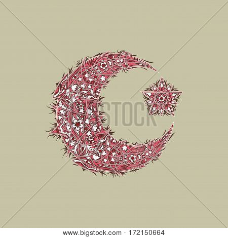 Oriental pattern, moon and star. Islam, Arabic, Turkish, Moroccan motifs.