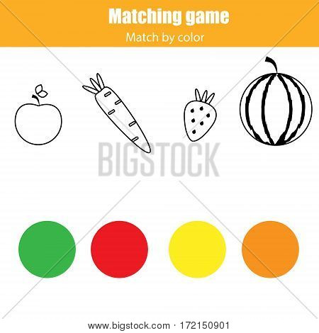 Matching pairs game for kids. Match by color. Connect food with colors