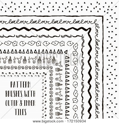 Flexible, color adjustable, easy to reshape and resize seamless pattern brushes collection for Adobe Illustrator. With outer and inner tiles corners. Vector Illustration. Hand-drawn Doodle Style