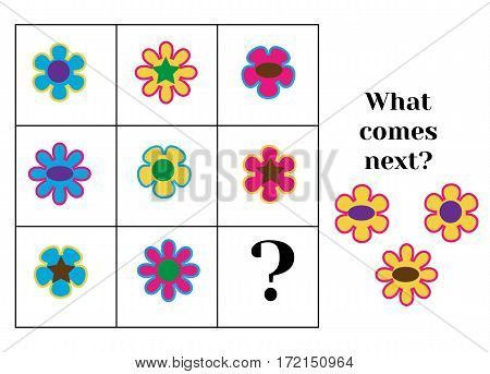 What comes next educational children game. Kids activity sheet, training logic, continue the row task.