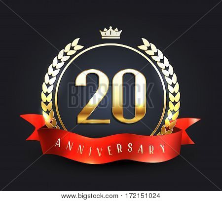 Twenty years anniversary banner. 20th anniversary logo. Vector illustration.