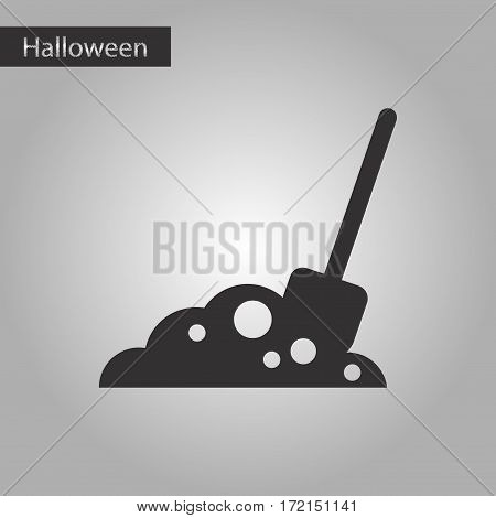 black and white style icon of halloween Plot shovel