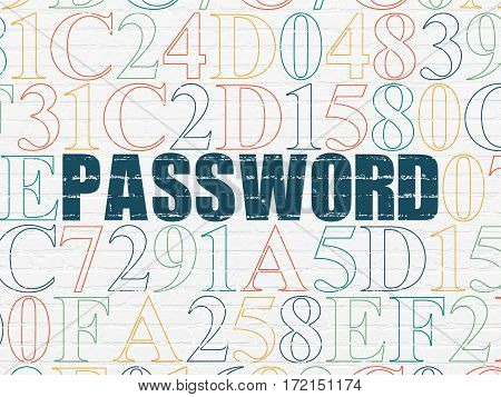 Protection concept: Painted blue text Password on White Brick wall background with Hexadecimal Code