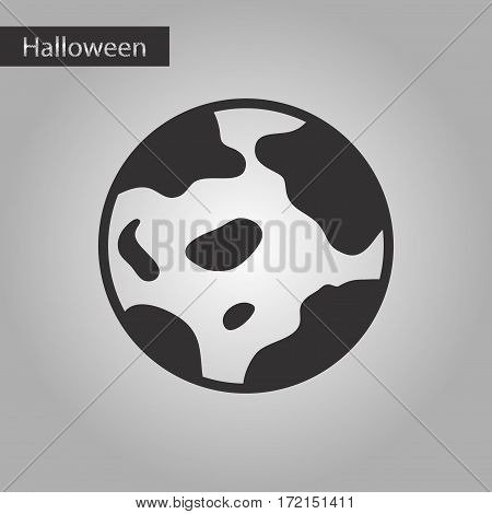 black and white style icon of halloween full moon