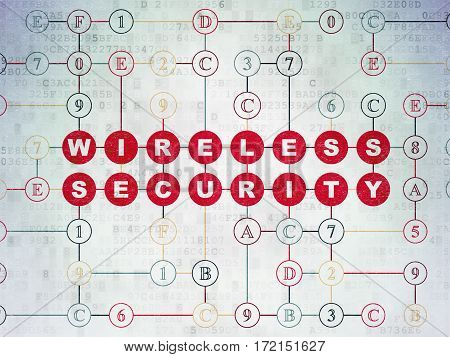 Privacy concept: Painted red text Wireless Security on Digital Data Paper background with Hexadecimal Code