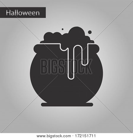 black and white style icon of halloween witches cauldron