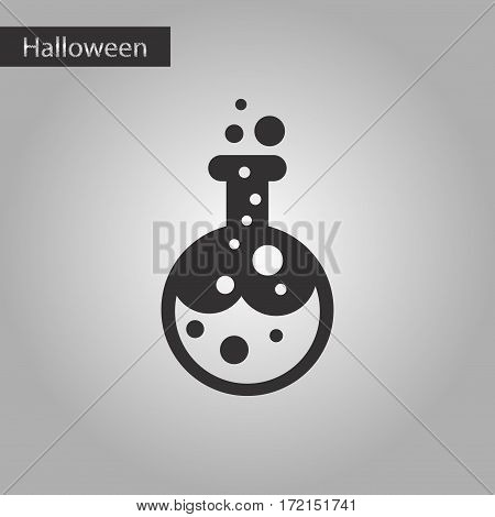 black and white style icon of halloween potion bottle